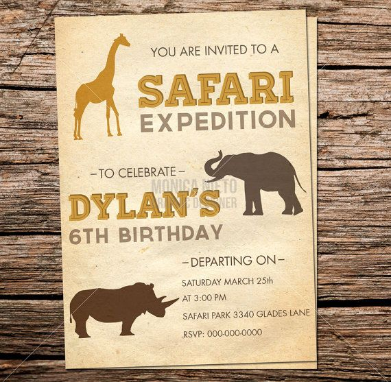 Safari Expedition Zoo Themed Birthday By Monicagraphicdesign 13 00