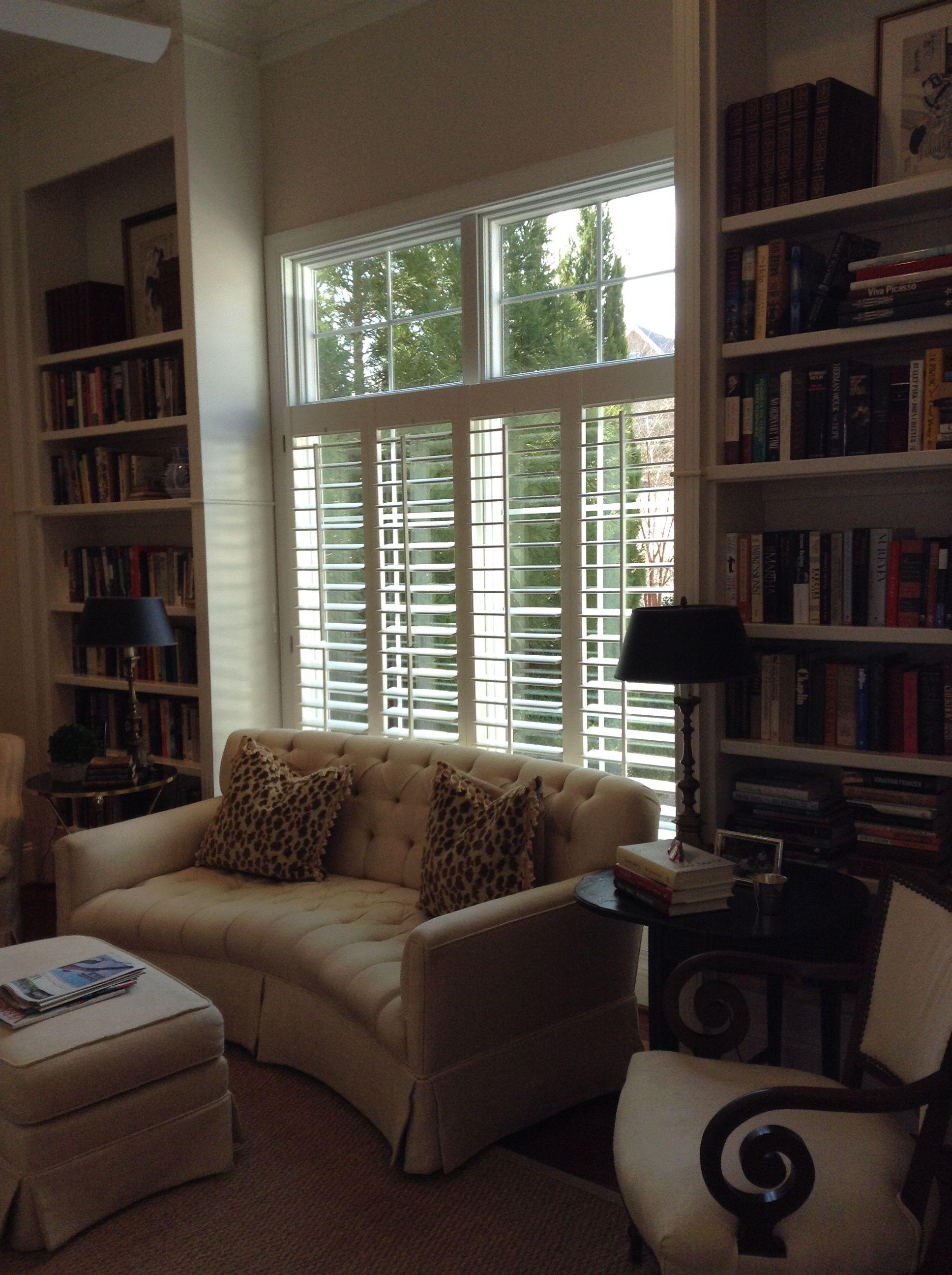 Bookshelves Flanking Window Front Room Big Blue House Tv