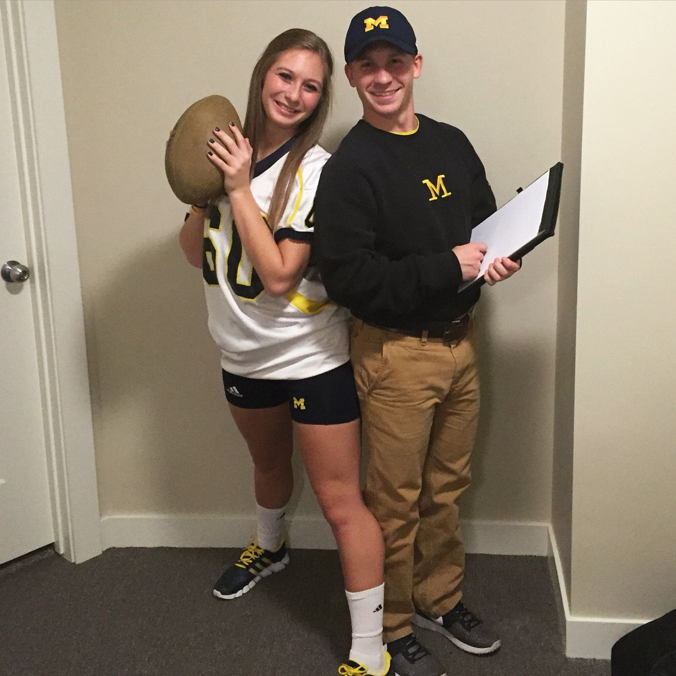 Couple Halloween costume- Michigan football player and Jim Harbaugh  sc 1 st  Pinterest & Couple Halloween costume- Michigan football player and Jim Harbaugh ...