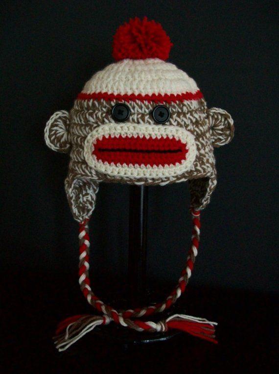 1d4bda79ba8 Traditional Sock Monkey Hat - Crochet Baby Girl Boy Adult Monkey Hat -  Photo prop hat by littledarlynns on Etsy