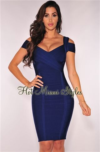 9bb85fba6ee Navy Blue Cut Out Sleeves Bandage Dress | Fashion | Dresses, New ...