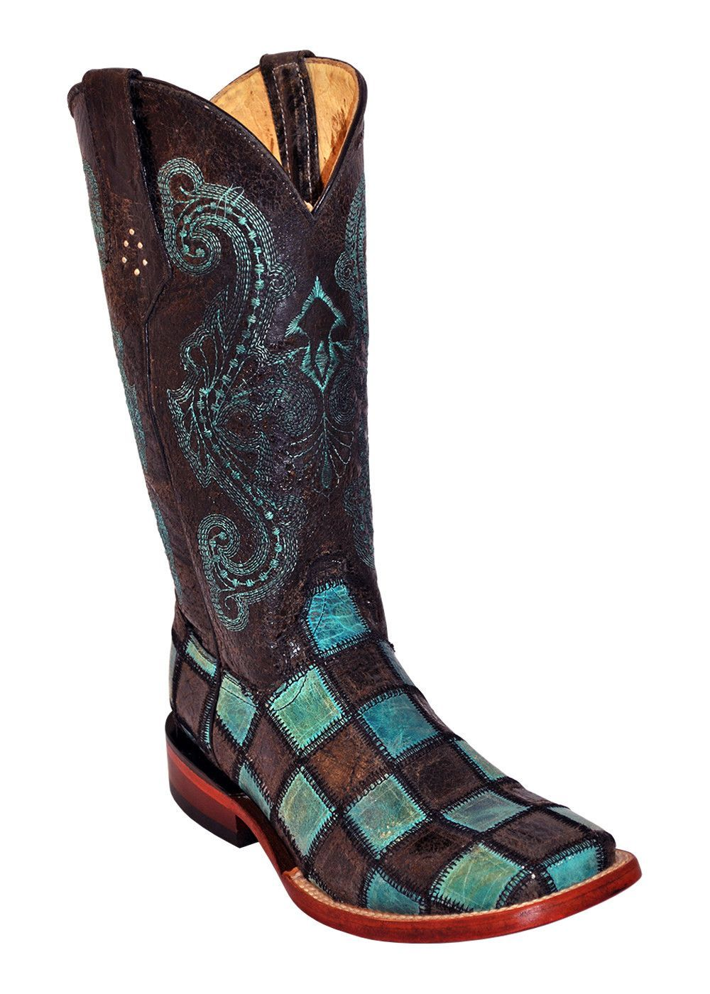 Ferrini Ladies Black Teal Patchwork S Toe Cowboy Boots