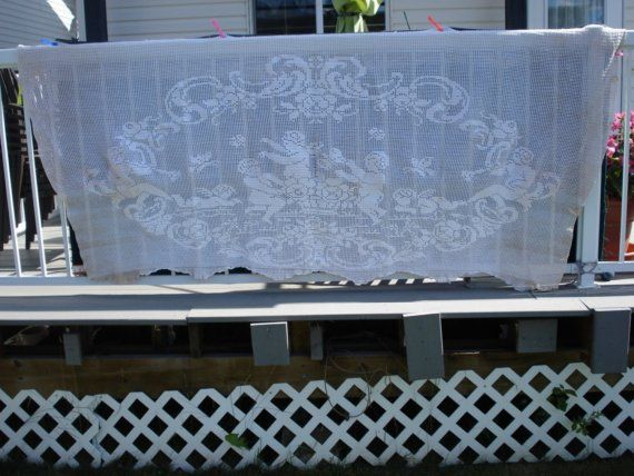 ANGELS FROM HEAVEN Cottage Ivory Hand Crochet Curtain From by ufer, $100.00
