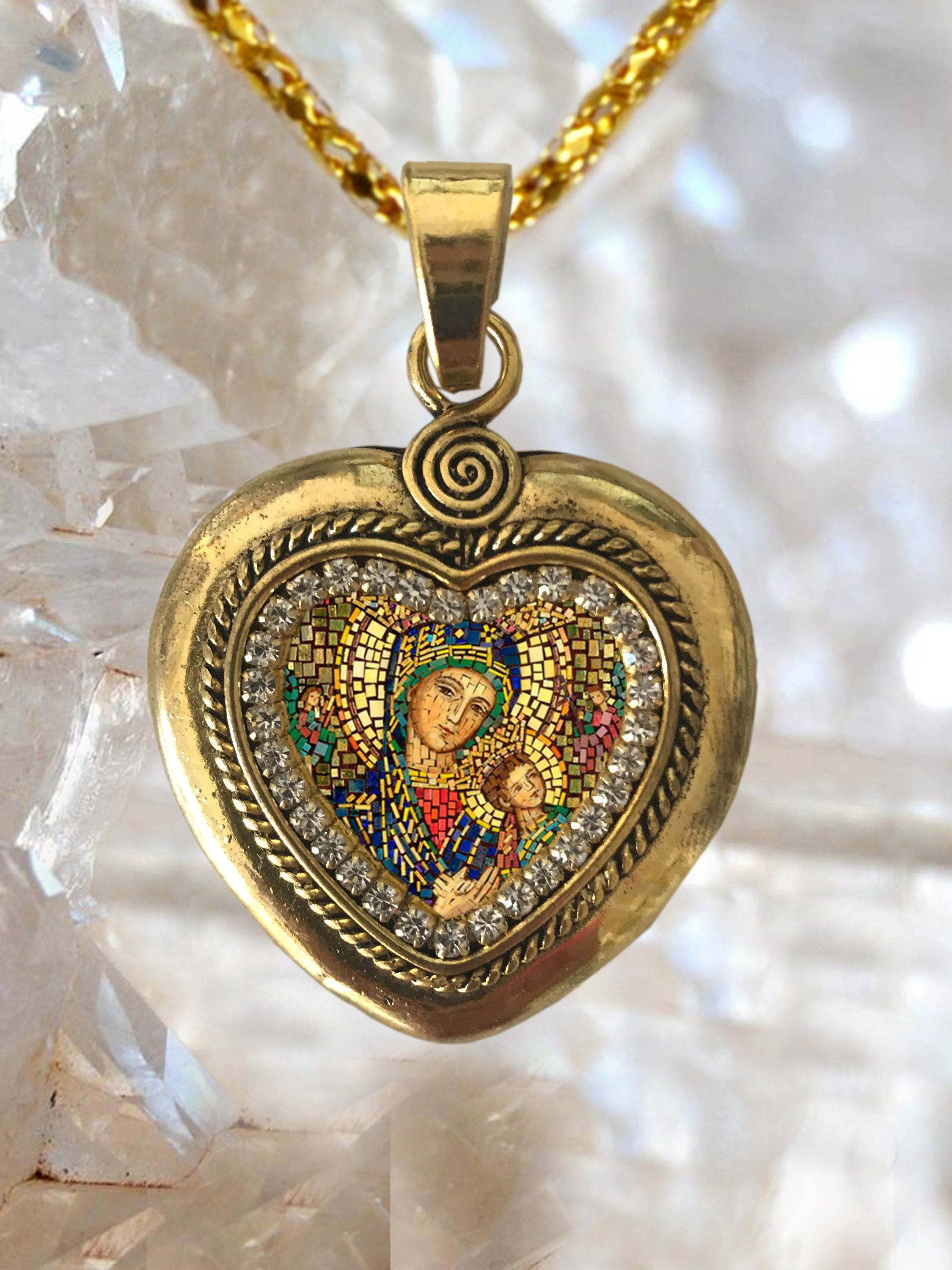 Our Lady of Perpetual Help Heart Necklace Handmade Catholic