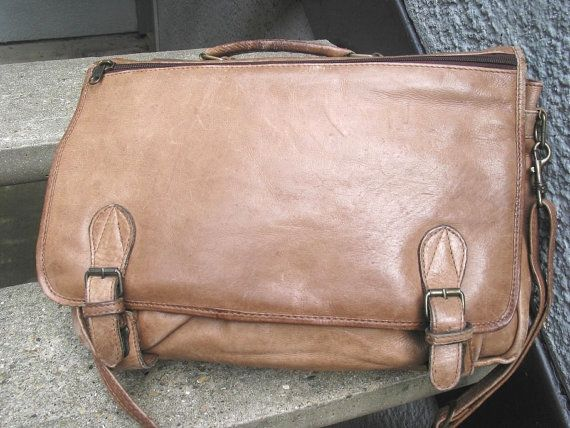 Vintage Used Beige Soft Leather Briefcase by VintageClassicWares, $70.00