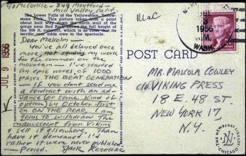 Jack Kerouac to Malcolm Cowley, 1956