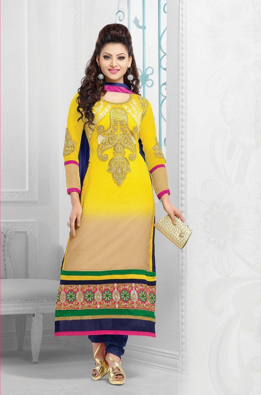 d444974457 Urvashi Rautela Yellow Georgette Semi Stitched Anarkali Salwar Suit  #anakalisuit #salwarsuit