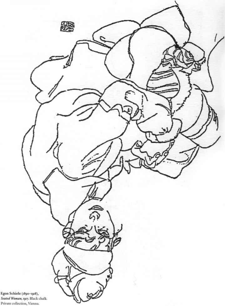 Upside Down Contour Line Drawing : Upside down drawing egon schiele g