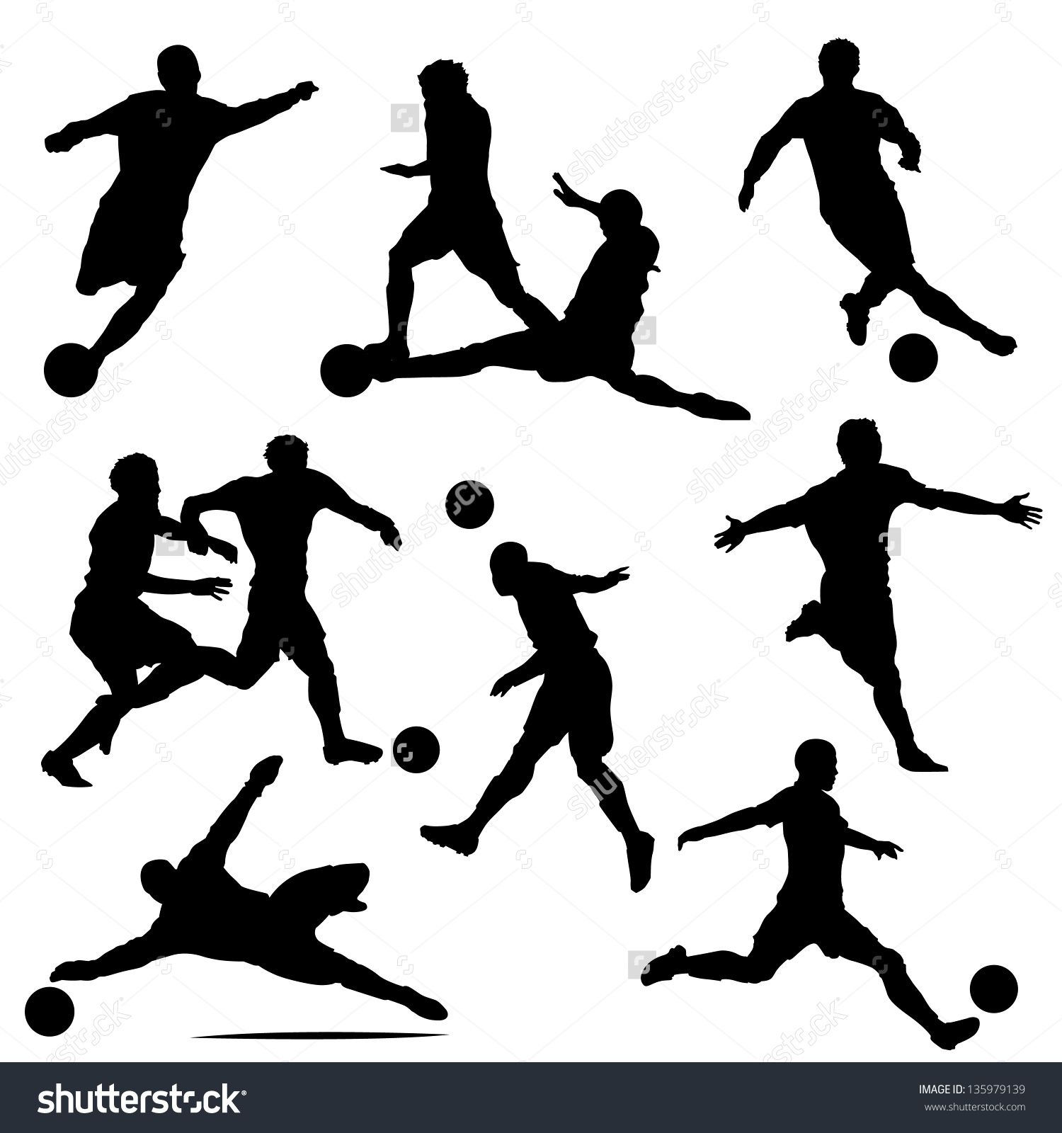 Various Isolated Poses Of Soccer Players In Silhouettes Bocetos Tatuajes Tatuajes Futbol Tatuajes Para Hombres