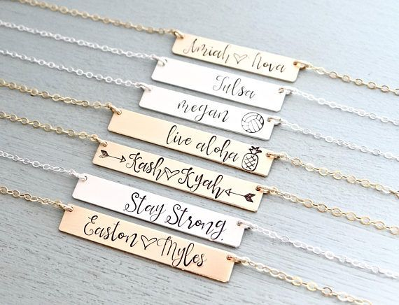79d79461a594eb Personalized Bar Necklace. Calligraphy Font Hand Stamped Custom Name Bar  Necklace. Mothers Gold Bar Necklace. Hand Lettering Font. Script. Design your  own ...