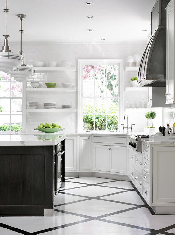 White Hamptons Style Kitchens White Kitchen Floor Kitchen Flooring Popular Kitchen Designs