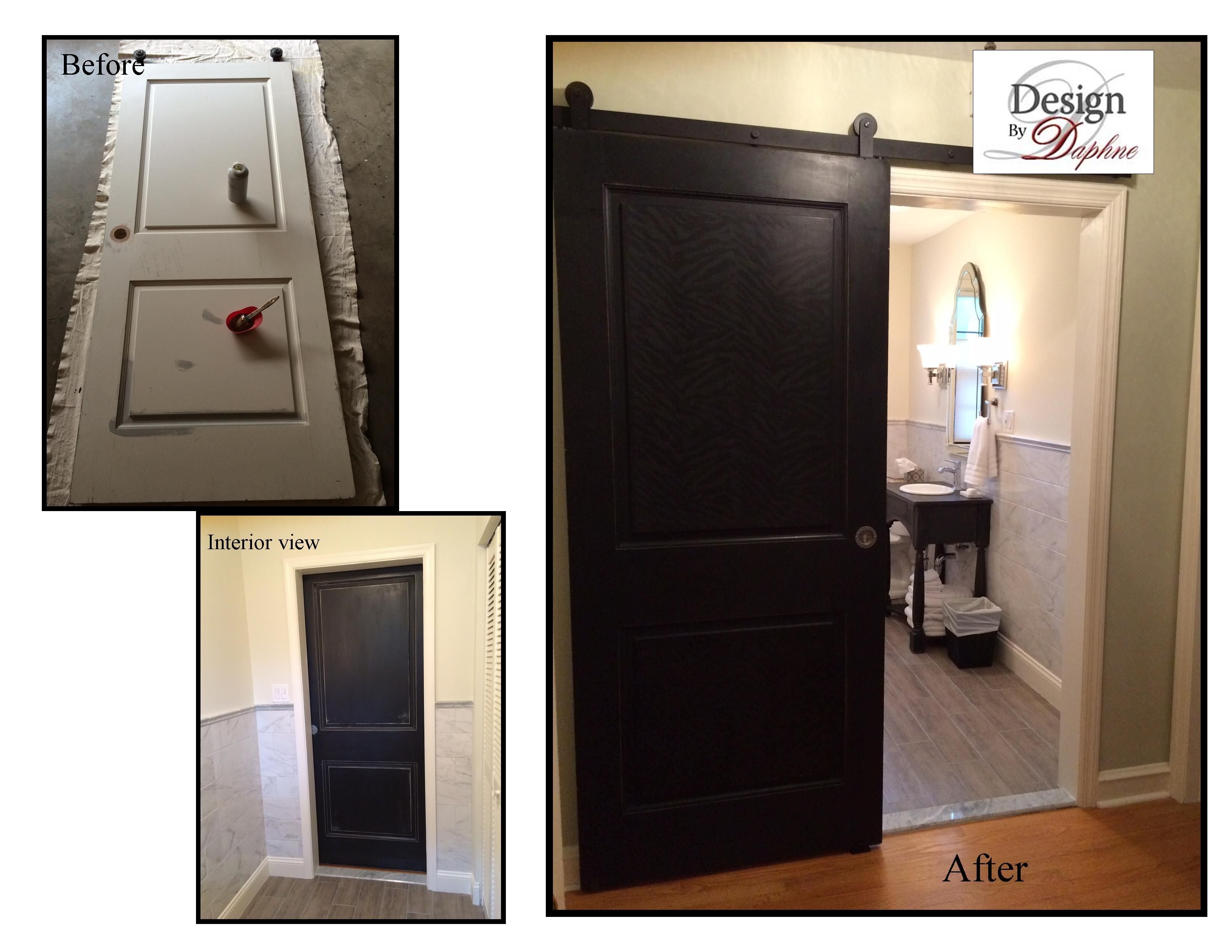 Old Door Hung On Barn Door Slides To And Space In A Small Bathroom