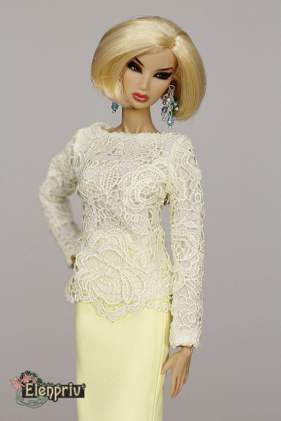 ELENPRIV pale yellow leather SKIRT for Fashion royalty by elenpriv
