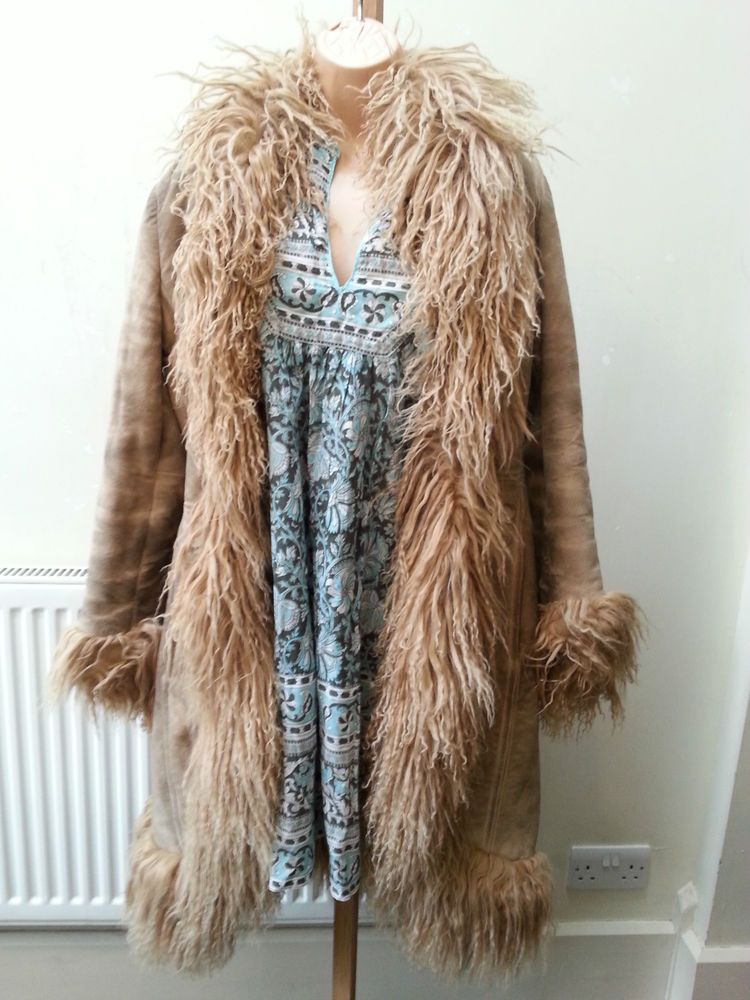 c2393169b1fe 70s vintage boho hippy suede jacket coat afghan sheep skin 8 10 4 6 60s s