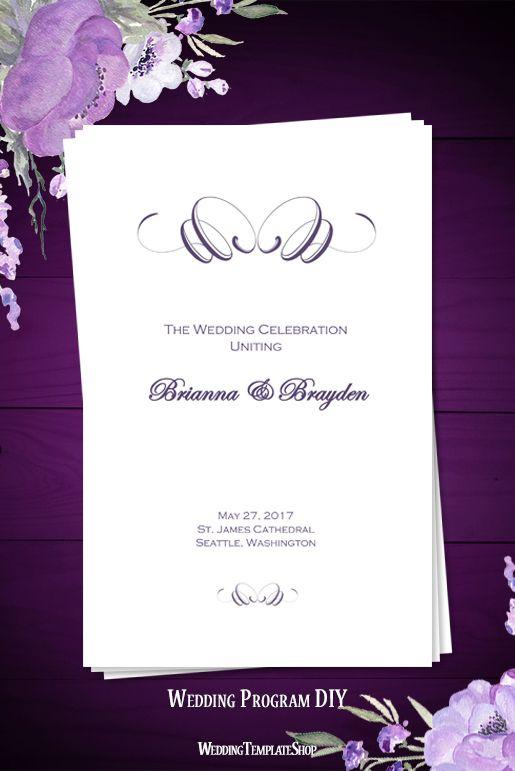 Wedding Program Template Flourish Purple Printable Wedding