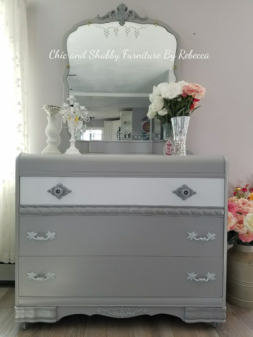 Mid Century Waterfall 3 Drawer Dresser And Mirror Dovetail Drawers And On Casters Done In Gray W Shabby Furniture Waterfall Furniture Furniture Makeover Diy