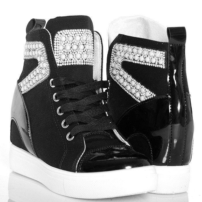 Sneakersy Czarne Trampki Cyrkonie I Perly Shoes Wedge Sneaker Sneakers