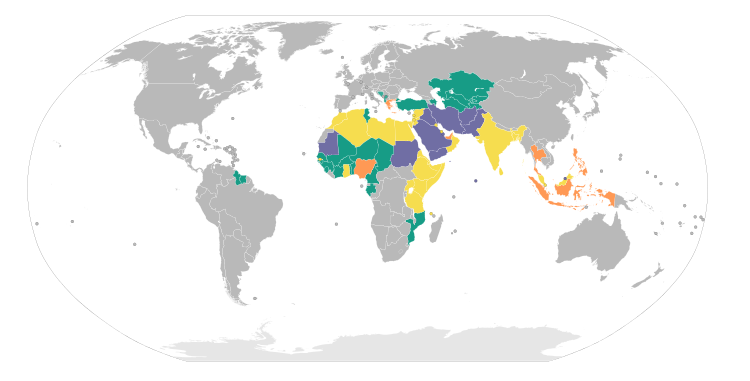 Wikipedia Use Of Classical Secular And Mixed Sharia - Languages of the world list by country