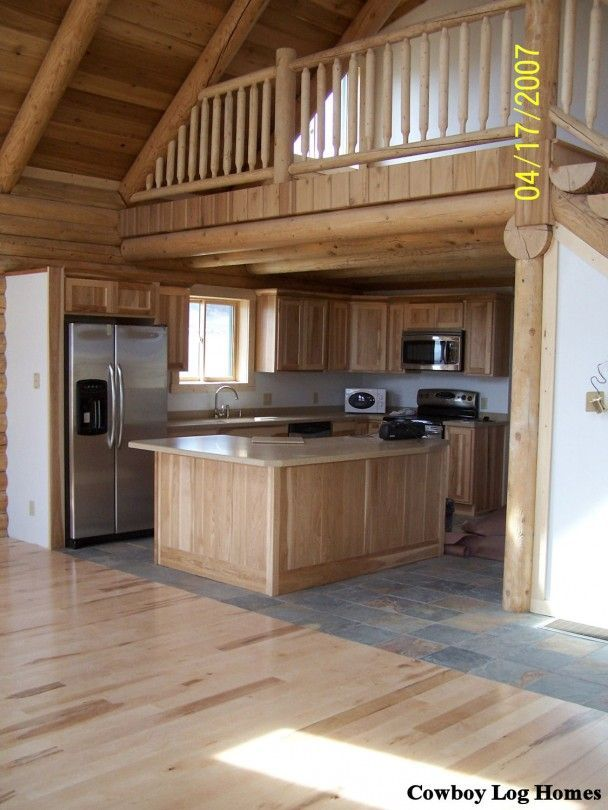 Small Cabin Homes With Lofts Log Cabin Loft And Kitchen Log Home Kitchen And Open Loft The Log Log Home Kitchens Cabin Loft Cabin Kitchens