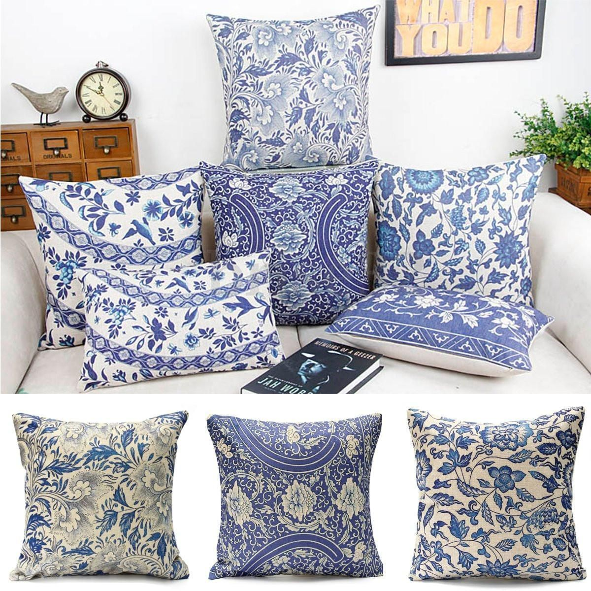 details about vintage oriental blue floral cotton linen. Black Bedroom Furniture Sets. Home Design Ideas