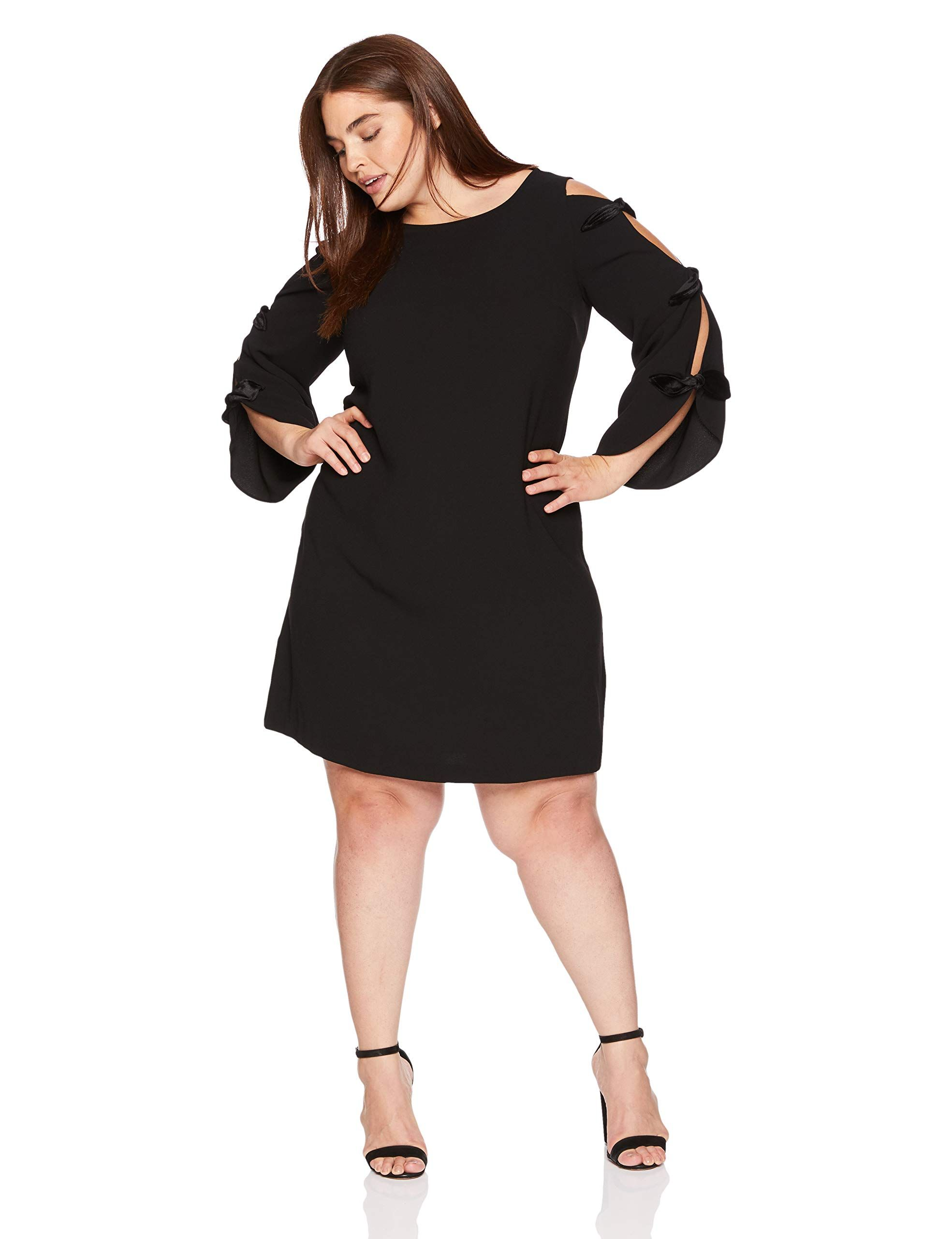 45c40ef0627c MSK Women's Plus Size Day to Evening Boat Neck Dress with Velvet Bow Sleeves
