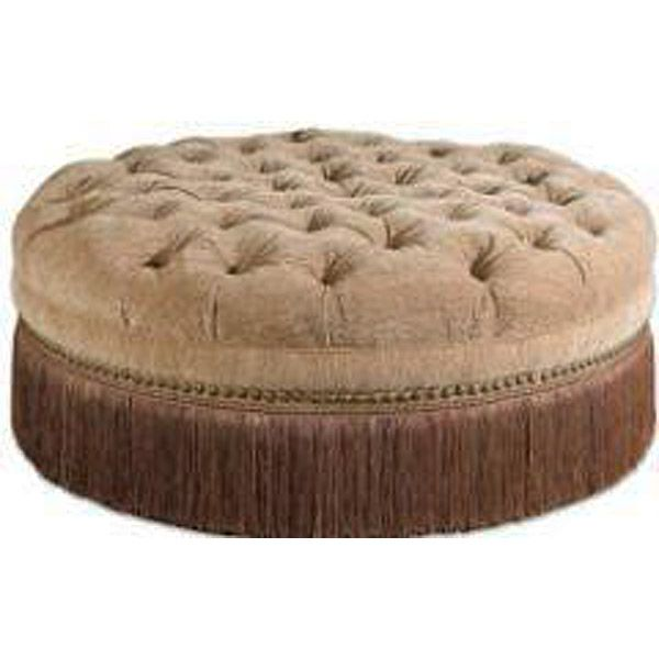 Pleasant Golden Sand Round Tufted Ottoman W Fringe Decorating Andrewgaddart Wooden Chair Designs For Living Room Andrewgaddartcom