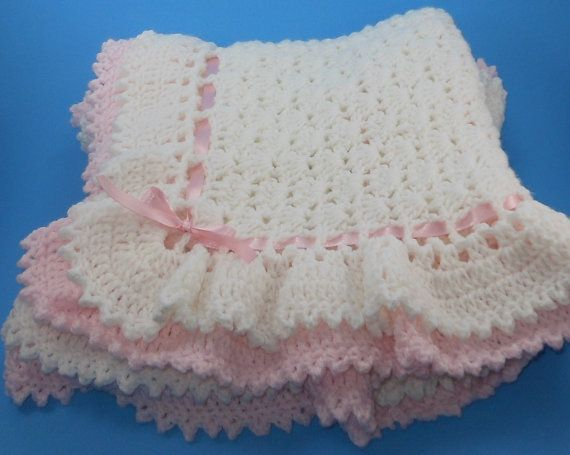 Double ruffle shell stitch crochet baby afghan