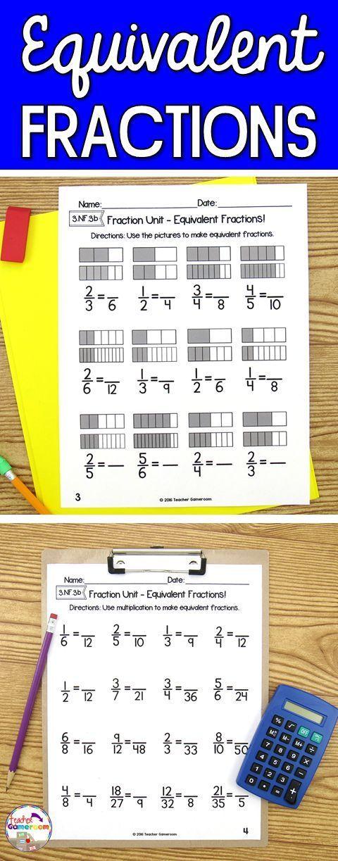 Fraction Unit Equivalent Fractions Worksheet Elementary Math