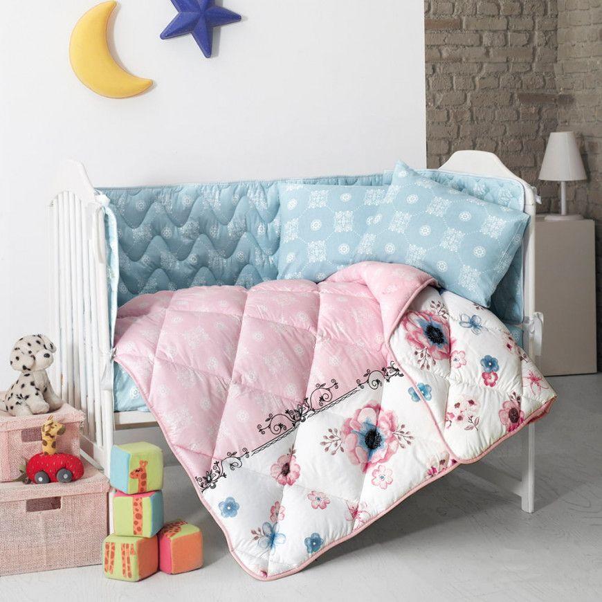 مفرش أطفال مواليد لير وردي و سماوي عدد القطع 5 Baby Comforter Bed Comforters Toddler Bed