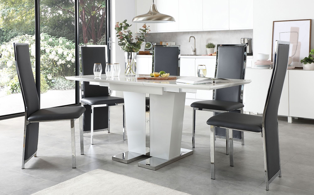 Vienna White High Gloss Extending Dining Table With 6 Celeste Grey
