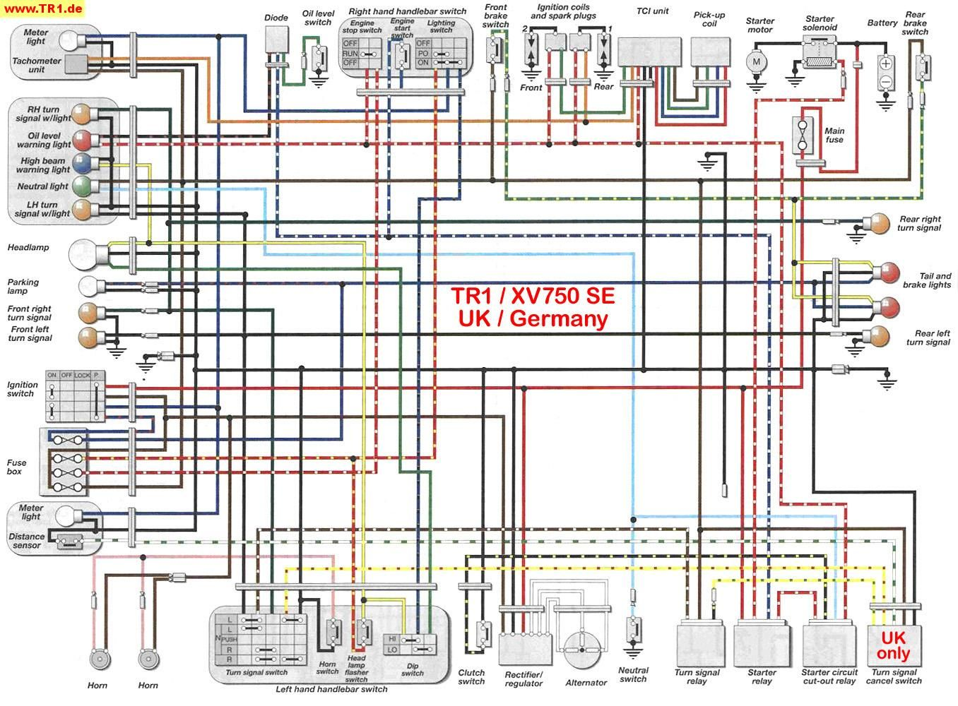 TR1/XV1000/XV920 wiring diagrams - Manfred's TR1. Page - All about YAMAHA  TR1. / XV1000 / XV920 | Yamaha virago, Electrical diagram, DiagramPinterest