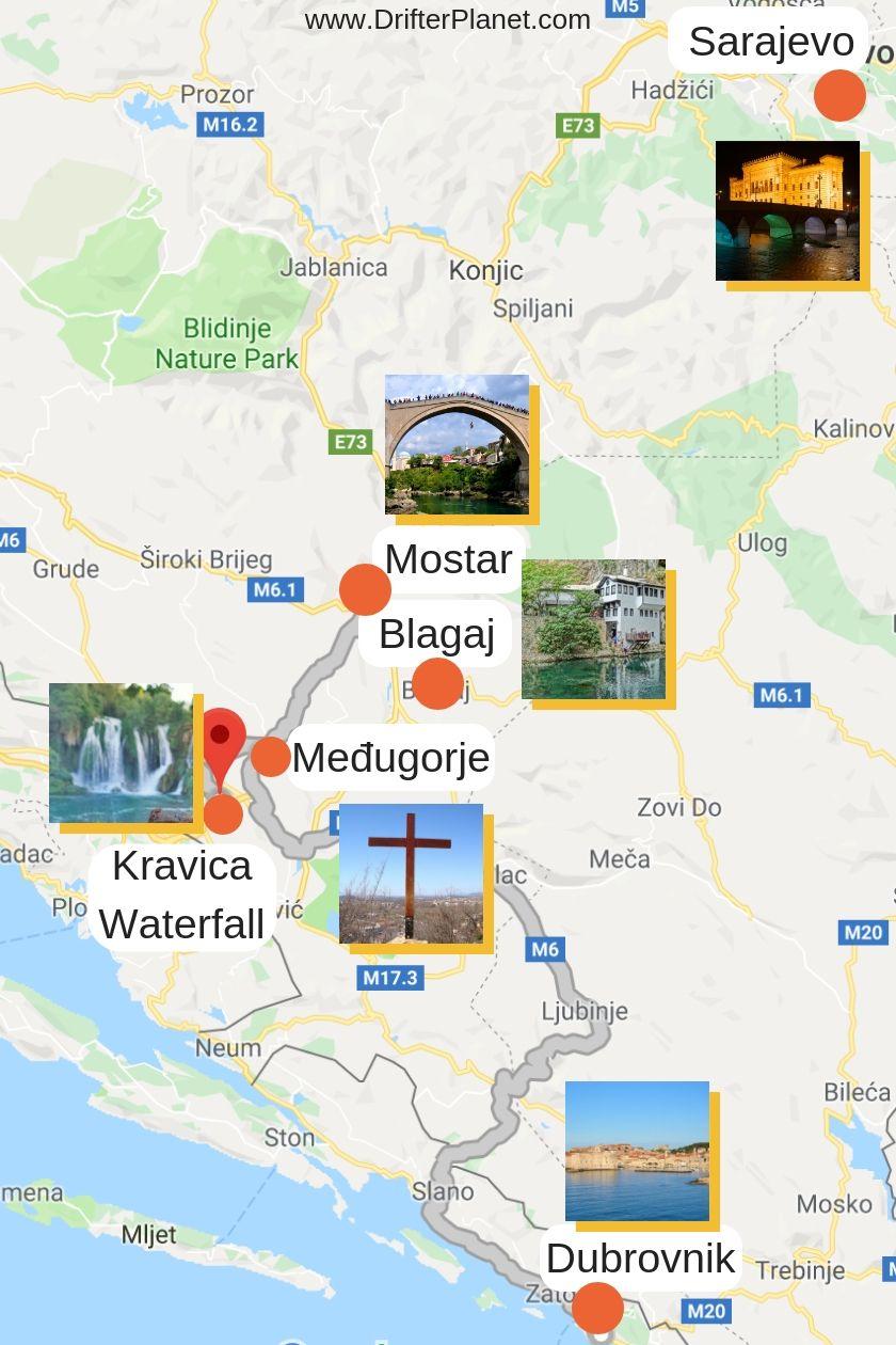 Kravice Waterfalls Map And Surrounding Area Bosnia And Herzegovina