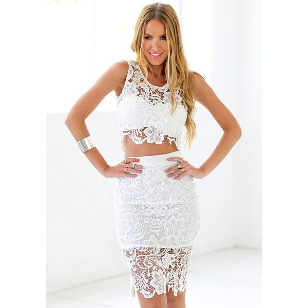 White Lace Two Piece Dress Lookbook Store ($32) via Polyvore featuring dresses, lace dress, white cocktail dresses, lace evening dress, 2 piece cocktail dress and holiday dresses