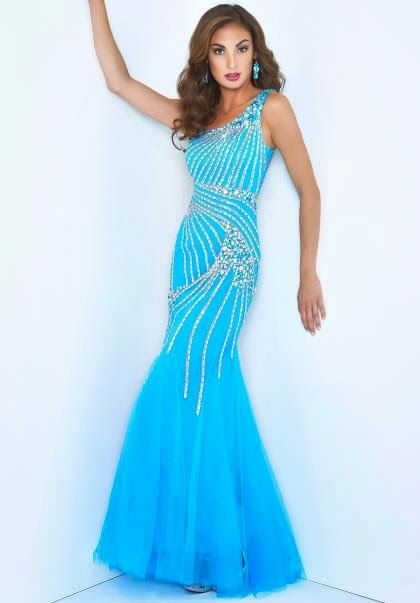 Vestidos de noche color azul celeste