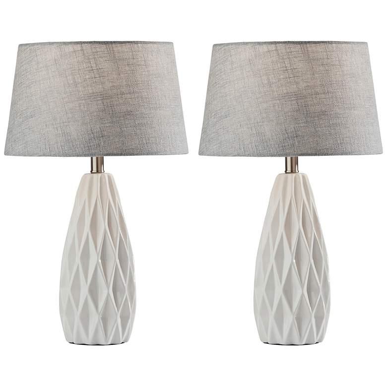 Joan White Geometric Ceramic Accent Table Lamps Set Of 2 83k49 Lamps Plus Table Lamp Sets Grey Table Lamps Farmhouse Table Lamps