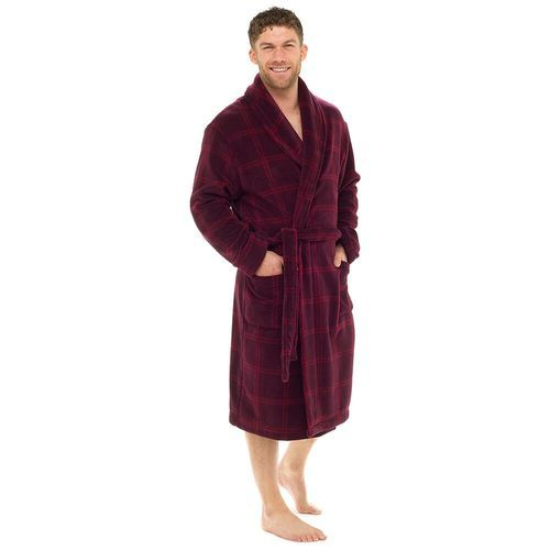 Mens Square Check Supersoft Fleece Collared Bath Robe  Wine in 2018 ... 38614659b