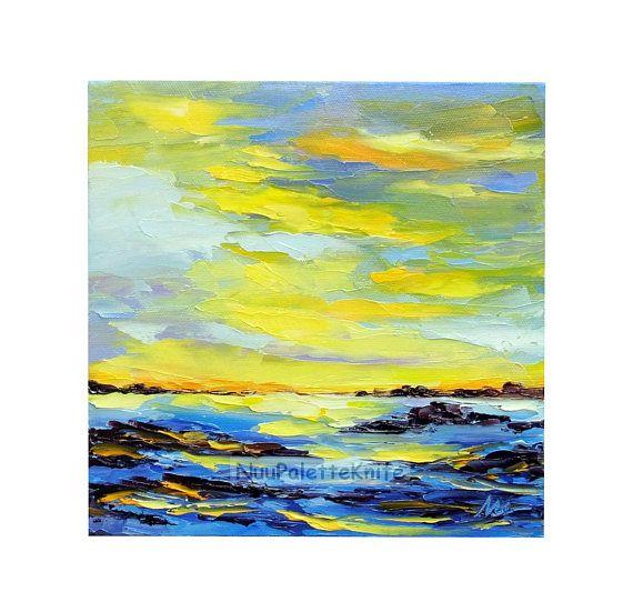 Beach Sunset Sea Ocean Oil Painting ORIGINAL Palette Knife