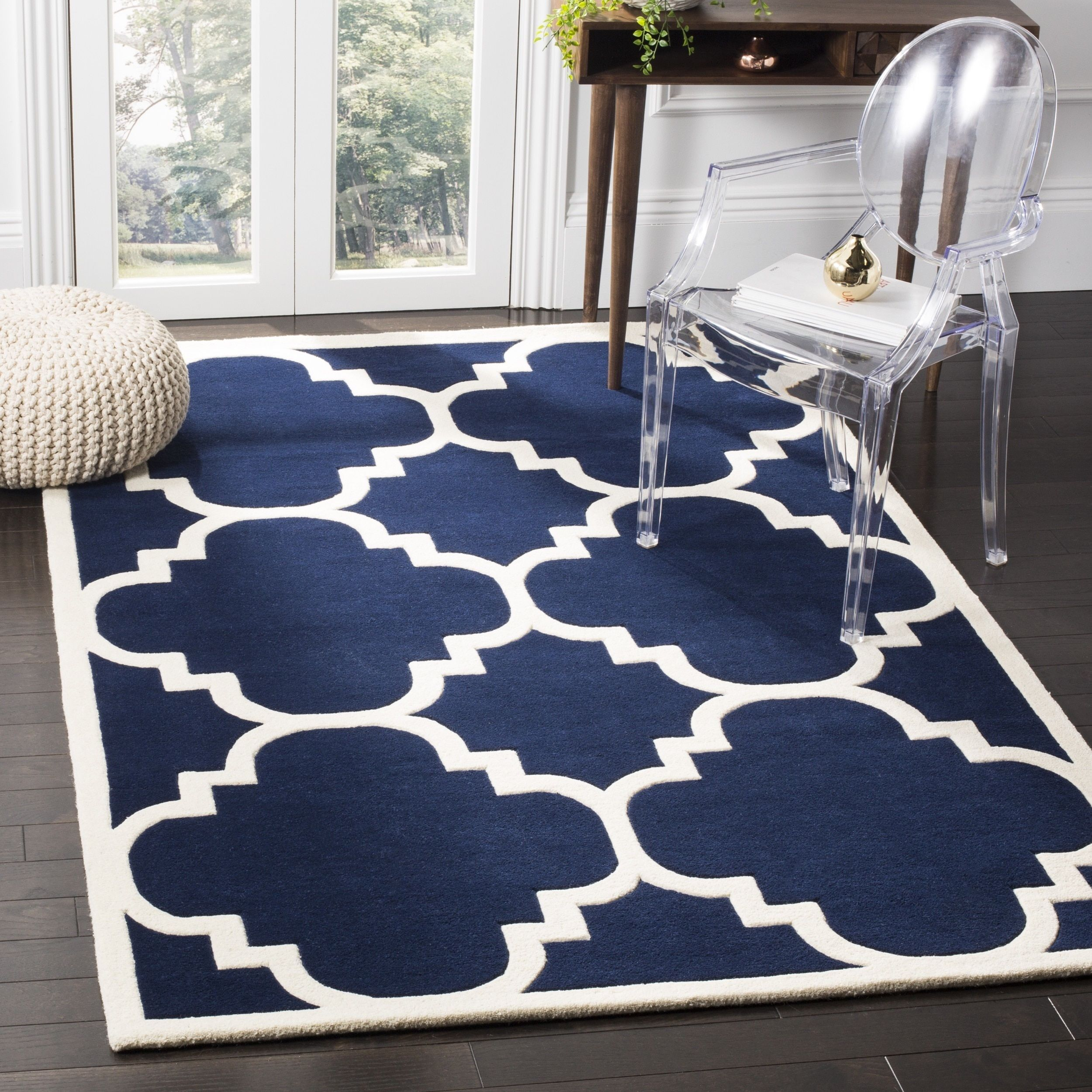 Safavieh Handmade Moroccan Chatham Geometric Pattern Dark Blue Wool