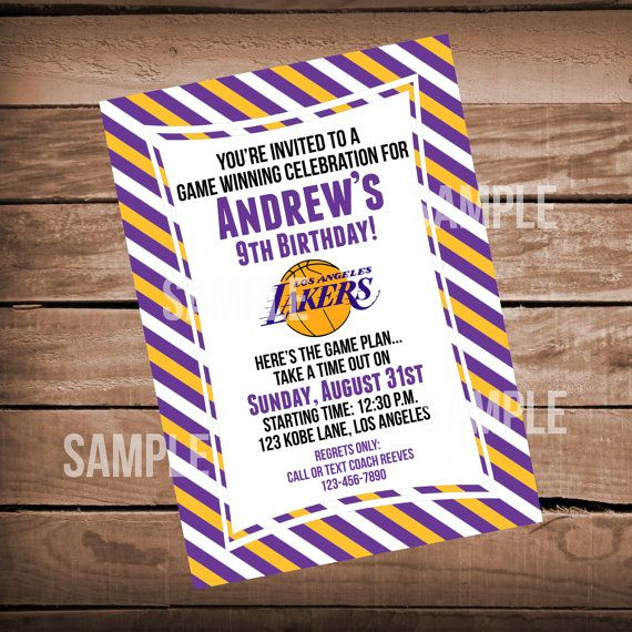 Los Angeles Lakers Birthday Party Invitation On Etsy 999