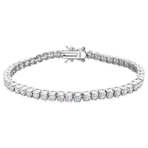 EVER FAITH® 925 Sterling Silver CZ Channel-Set Tennis Bracelet Chain Clear 1DsDf