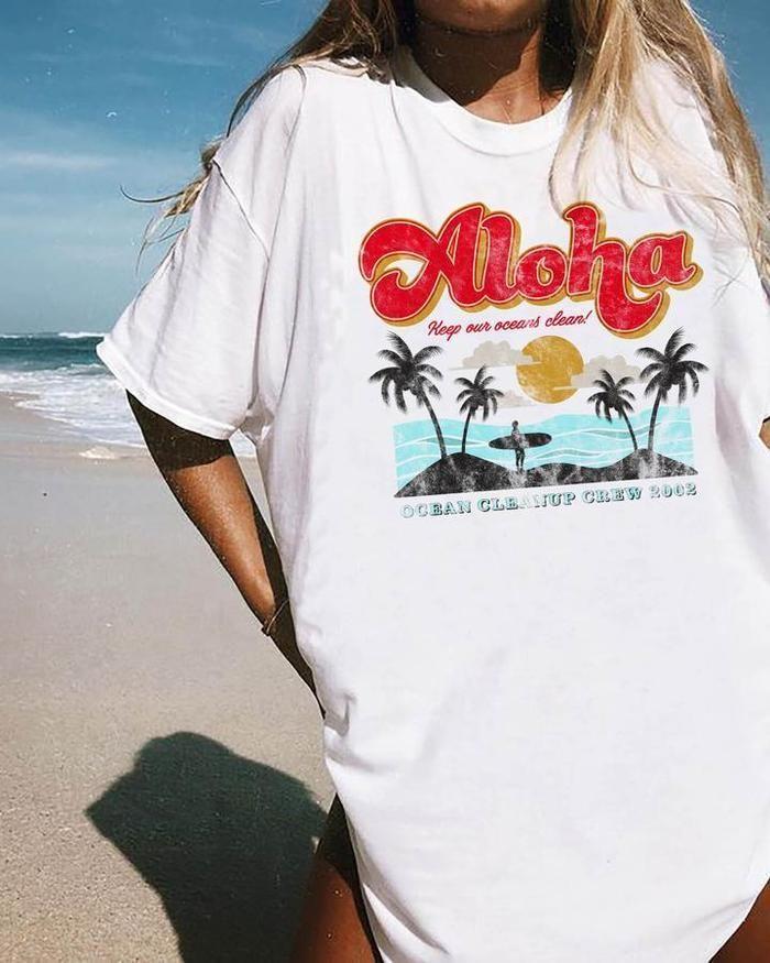 Aloha Tee In 2021 Rad Shirts Distressed Denim Shorts T Shirts For Women
