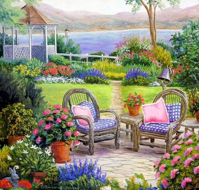 cuadros-de-casas-con-jardines ♥♥ Pinturas hermosas - paisaje jardin