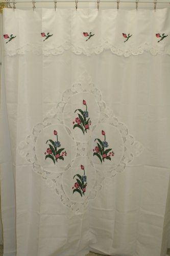 Shari Straight Shower Curtain Whiterose Check Out This Great