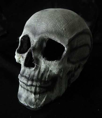 Lighted Human Skull Strobe Light Halloween Haunted House Gray - halloween haunted house ideas