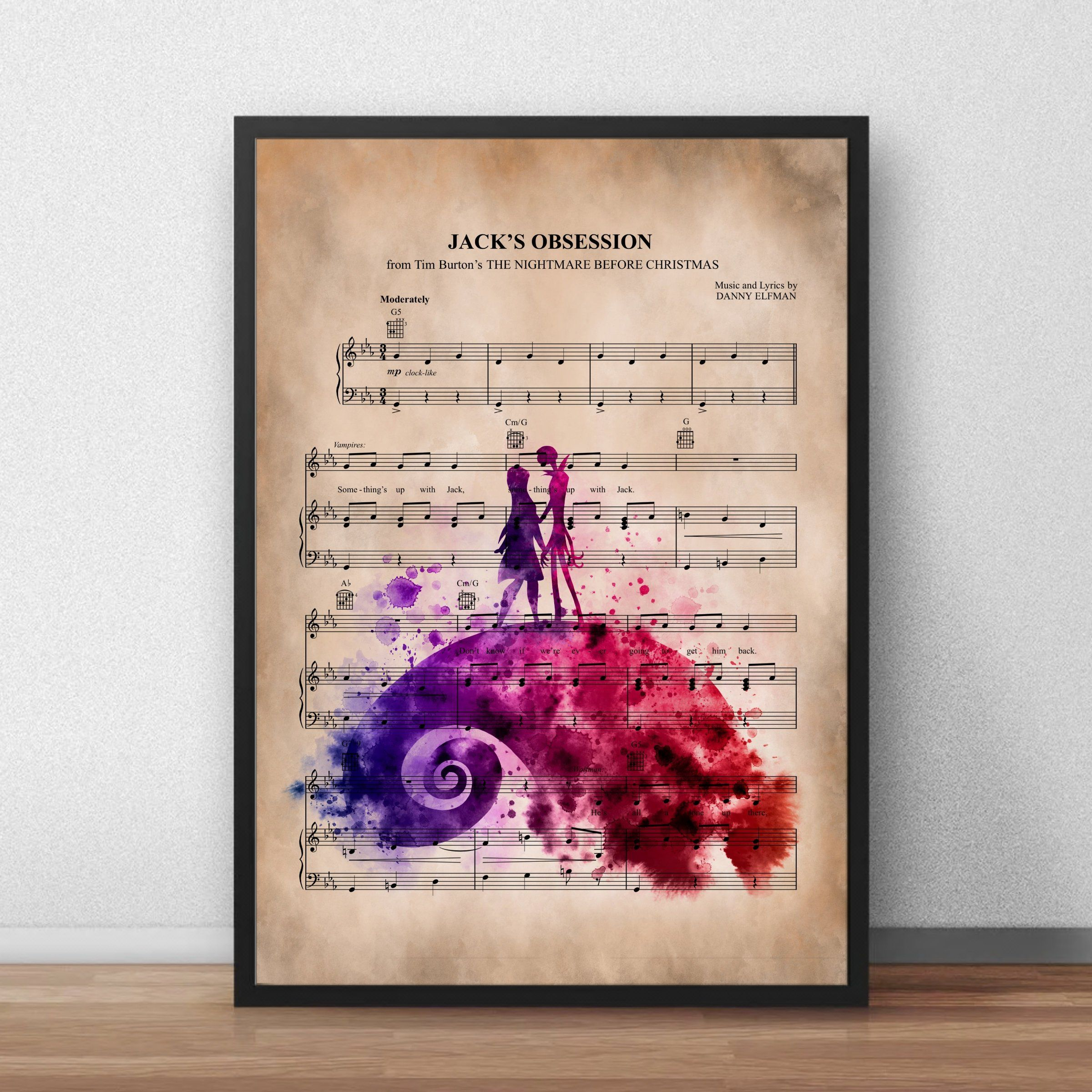 The Nightmare Before Christmas Jack And Sally Music Sheet Print-Wall ...