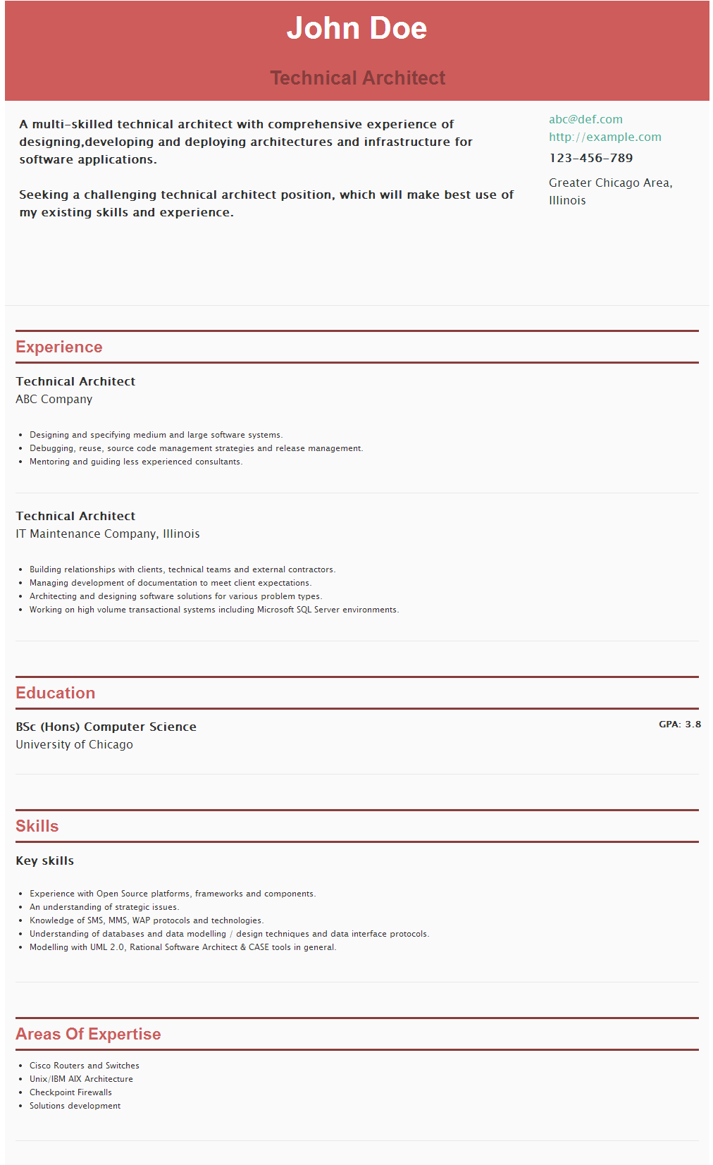 Resume For Technical Architect Https Hipcv Com Abc R Technical