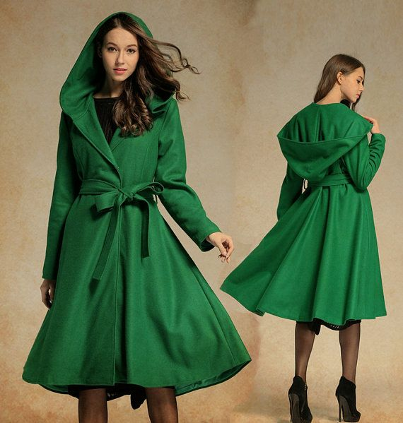 ade2c7a3403da Hooded Winter Wool Coat in Green, Red, Grey, Black,Midi Dress Style Flared  Jacket, Knee Length Autumn / Winter Fashion, Cashmere Coat Jacket