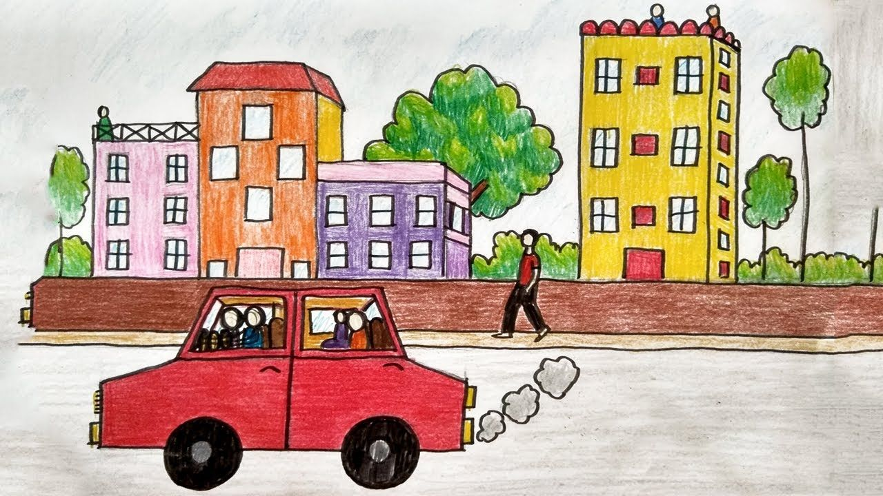 How To Draw A City Scenery Easy Drawings Step By Step Drawing Easy Drawing Steps