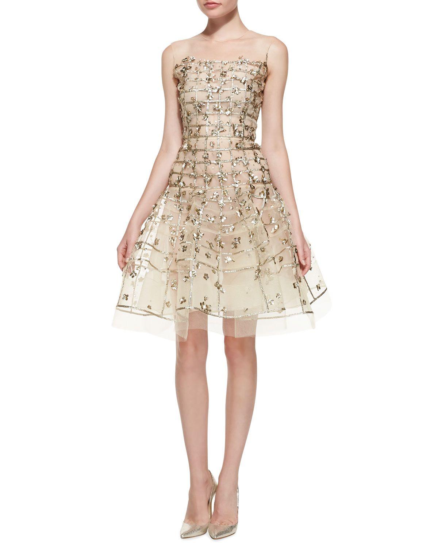 Oscar De La A Gold Sequin Embroidered Flare Dress