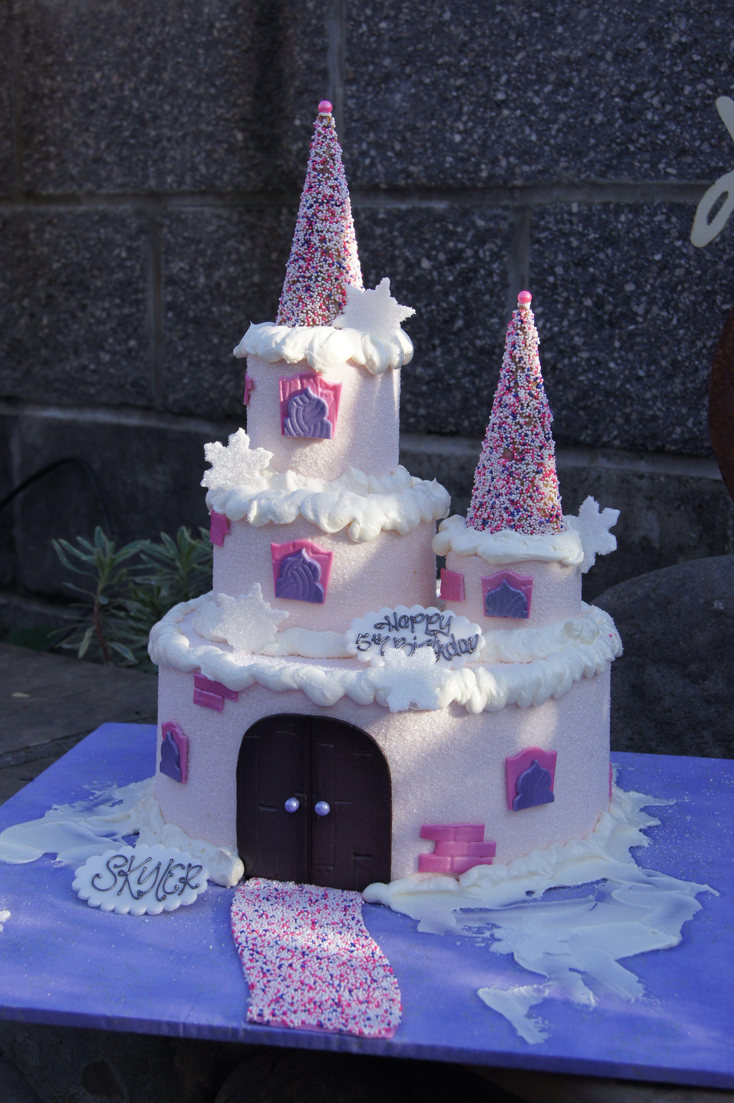 Pink Princess Castle Birthday Cake